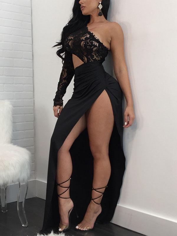 Poliéster Sexy Bateau Neck un hombro de manga larga vaina tobillo vestidos de longitud
