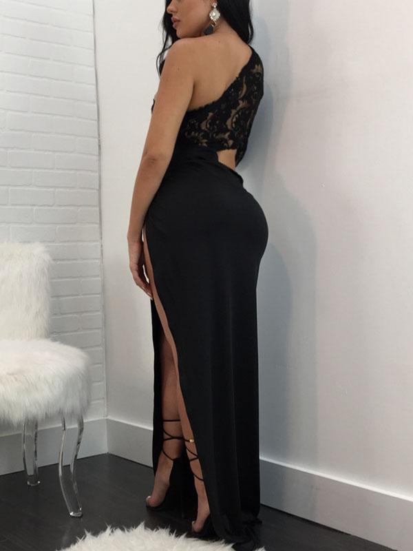 Polyester Sexy Bateau Neck One Shoulder Long Sleeve Sheath Ankle Length Dresses