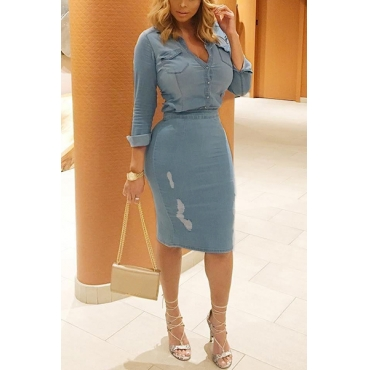 Stylish Long Sleeves Casual Slit Denim Two-piece Dress