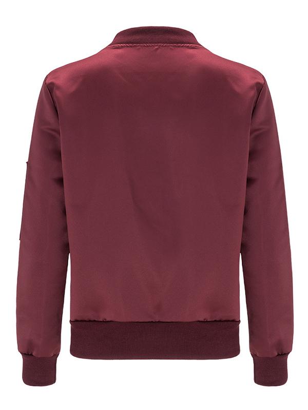 Trendy Long Sleeves Zipper Design Wine Red Rayon Coat