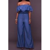 Stylish Dew Shoulder Falbala Design Blue Denim One