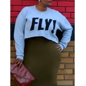 letter print Long Sleeve Short Pullovers Sweats&Ho