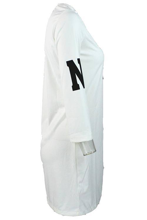 loisirs autour du cou manches trois-quarts des lettres t-shirt de tricot blanc imprimé