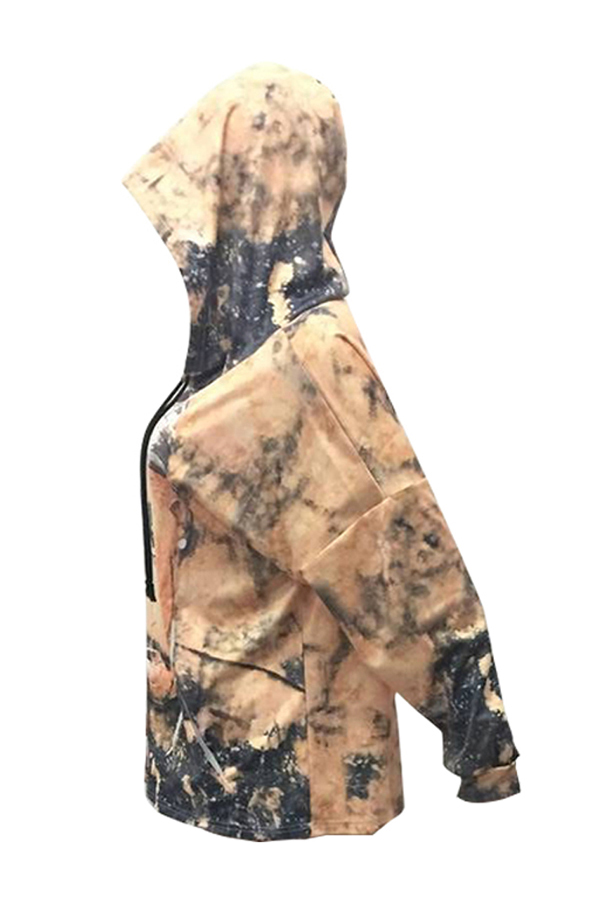 Euramerican Hooded Collar Long Sleeves Printed Gold Polyester Hoodies