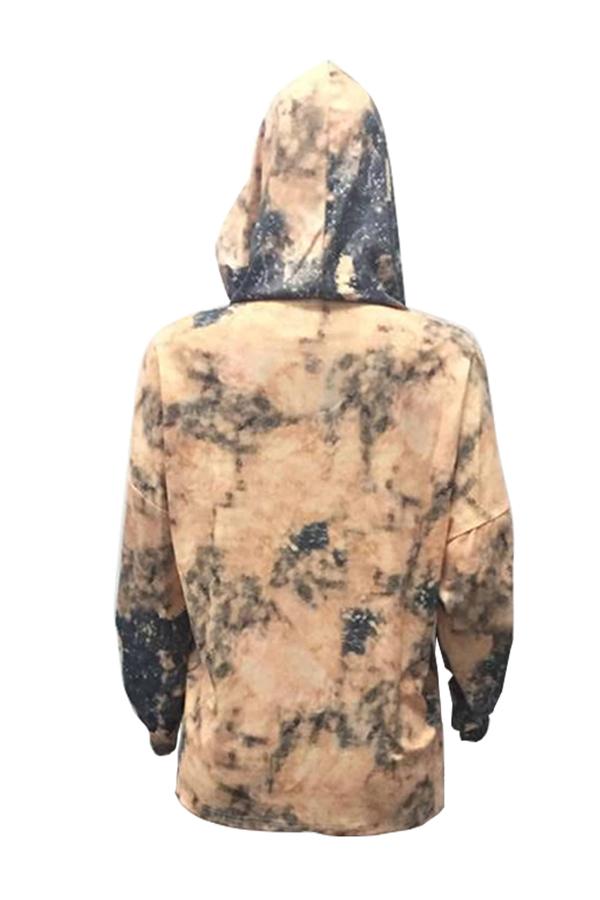 Euramerican Hooded Collar Long Sleeves Gedruckt Gold Polyester Hoodies