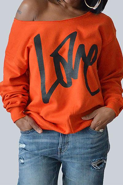 Loisirs Col Rond Manches Longues Lettres Impression Pull En Coton Orange