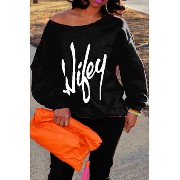 Trendy Dew Shoulder Letters Printed Black Cotton Blends Pullovers