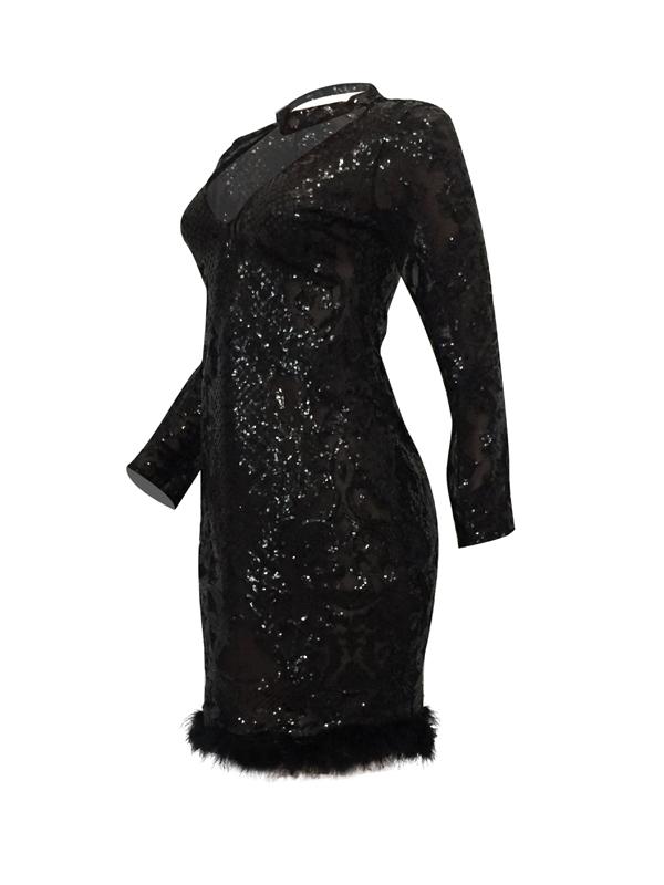 sexy épais V col visiter-Through Black Polyester Gaine Robe Longueur au genou