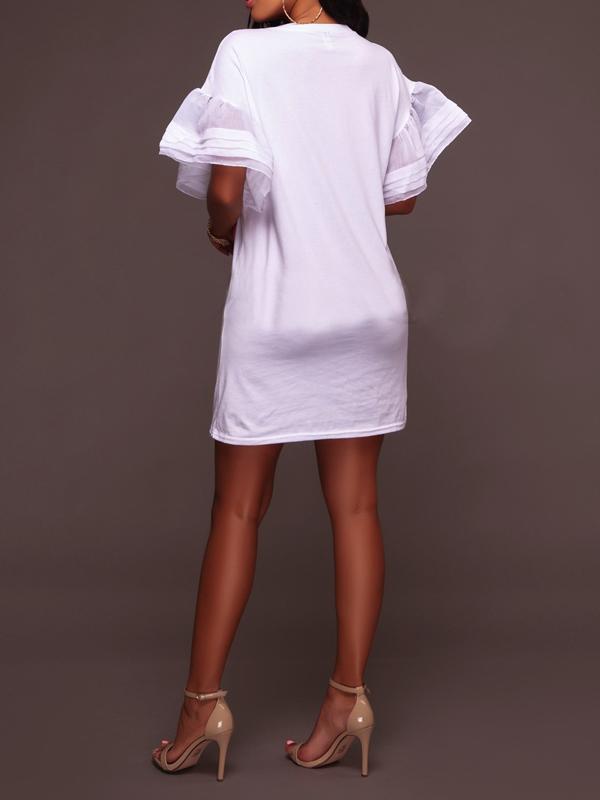 Стильный Шею Печатных Белый Полиэстер Мини-Платье