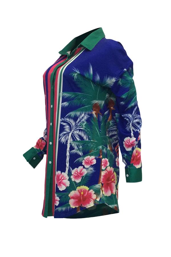 Euramerican Turndown Collar Print Floral Mini Vestido Azul De Poliéster (sin Cinturón)
