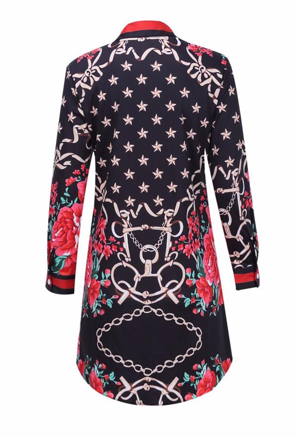Trendy Turndown Kragen gedruckt Patchwork Polyester Mantel Mini Kleid