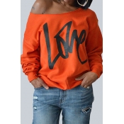 Lovely Leisure Round Neck Long Sleeves Letters Printing Orange Cotton Pullover