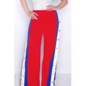 Fashion High Waist Buttons Design Red+Blue Polyester Pants