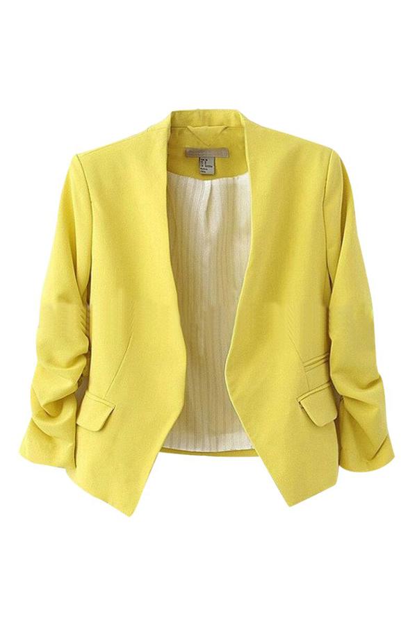 Elegante cuello en V mangas largas algodón amarillo mezcla escudo corto