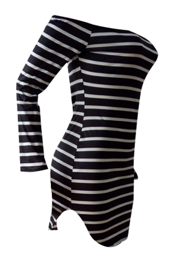 Euramerican Dew Shoulder Striped Milk Fiber Sheath Mini Dress