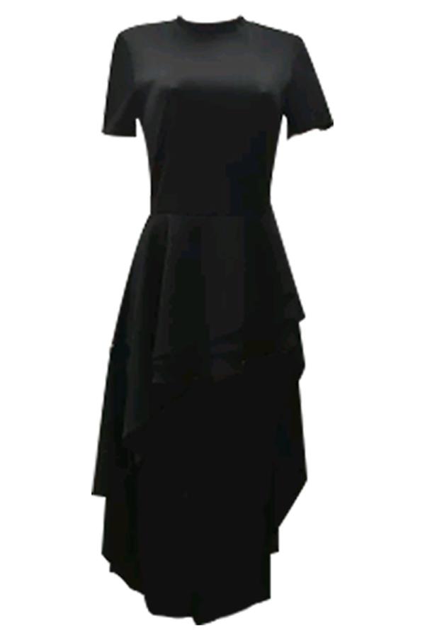 Collar Mandarino Elegante Design Falbala Asimmetrico Design Nero Poliestere Vestito Mid Calf