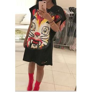 Leisure Printed Broken Holes Black Polyester Knee Length Dress