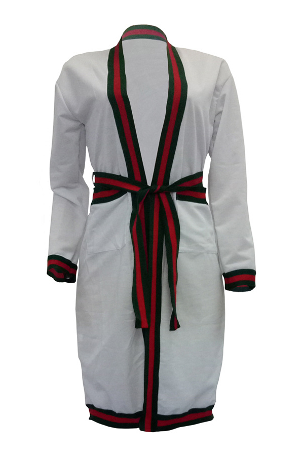 Sexy Deep V Neck Printed Patchwork White Polyester Long Coat