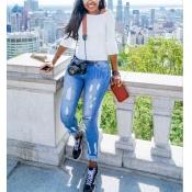Стильный высокой талией кисточкой дизайн синий джинсовые брюки