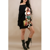 Leisure Round Neck Long Sleeves Printed Black Polyester Mini Dress