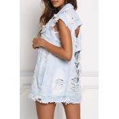 Fashion Hollow-out Denim Vest Coat
