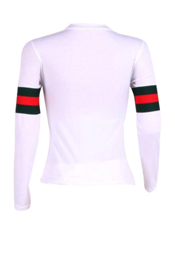 Leisure Round Neck Striped Patchwork T-shirt de algodão branco