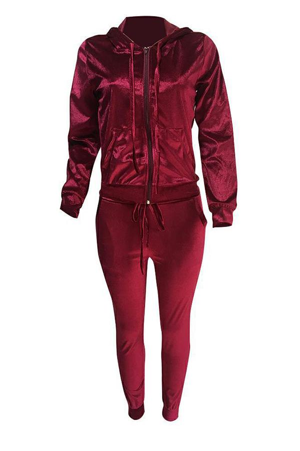 Euramerican Turndown Collar Zipper Design Wine Red Velvet Two-piece Pants Set