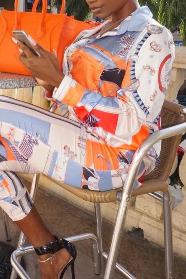 Fashionable Turndown Collar  Foal Printed White Elastic Fabric Two-piece Pants Set