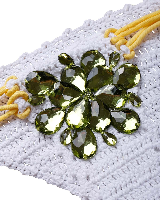 Conjunto De Bikini De Poliéster Amarillo Decorativo De Diamante Con Cordones Sexy