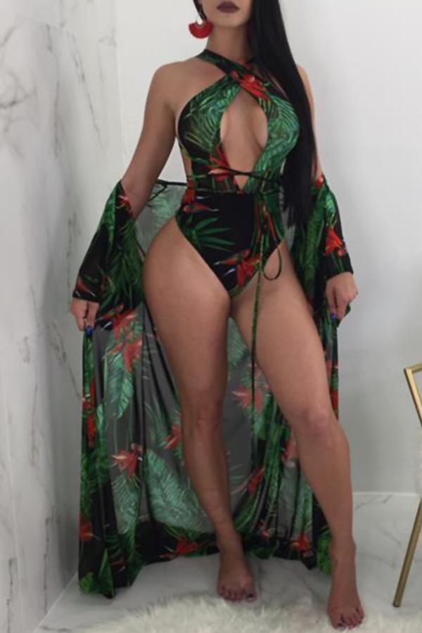 Encantadora Sexy Cordones De Impresión De Poliéster Verde + Spandex Trajes De Baño De Una Sola Pieza (con Encubrimiento)