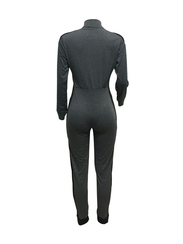Leisure High Collar Zipper Design Cotton Blends One-piece Jumpsuits