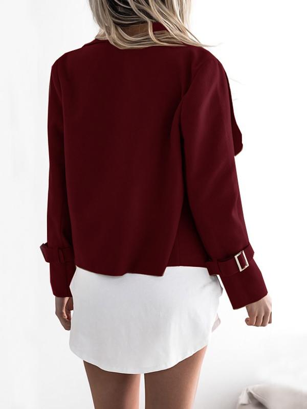 Lovely Euramerican Turndown Collar Long Sleeves Asymmetrical Wine Red  Jacket