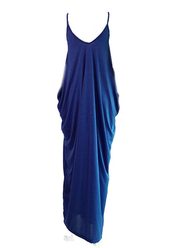 Lovely Leisure V Neck Navy Blue Blending Floor Length Dress