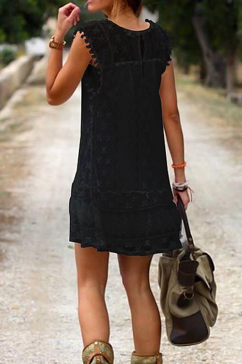 Adorável No Mini Vestido De Renda Paraísos