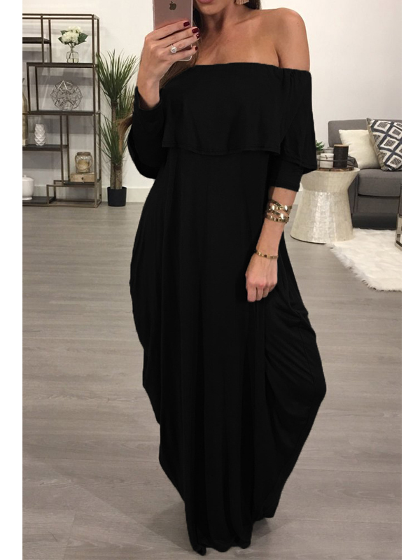 Fashion Dew Shoulder Falbala Design Black Cotton Blend Ankle Length Dress