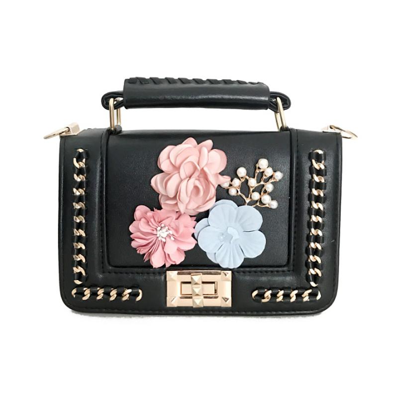 Stylish Flower Decorative Black PU Crossbody Bag_Messengeru0026Crossbody_Bags_Accessories ...