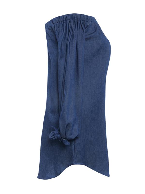 Vestito in raso blu scuro decorativo decorato da Denim