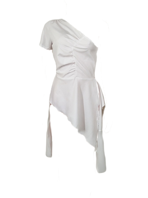 Trendy Dew Shoulder Asymmetrical White Polyester Tops