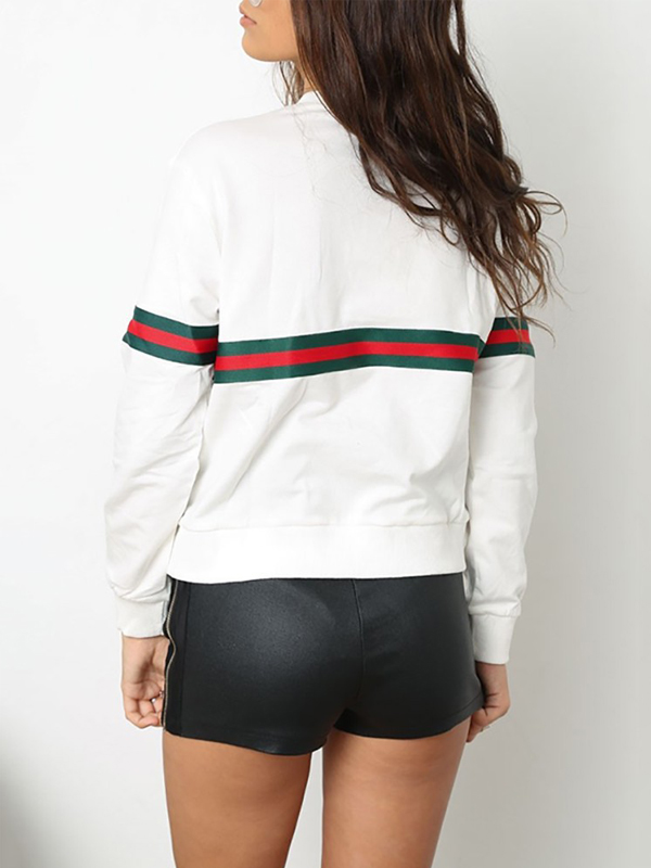 Leisure Round Neck Patchwork White Polyester Pullovers