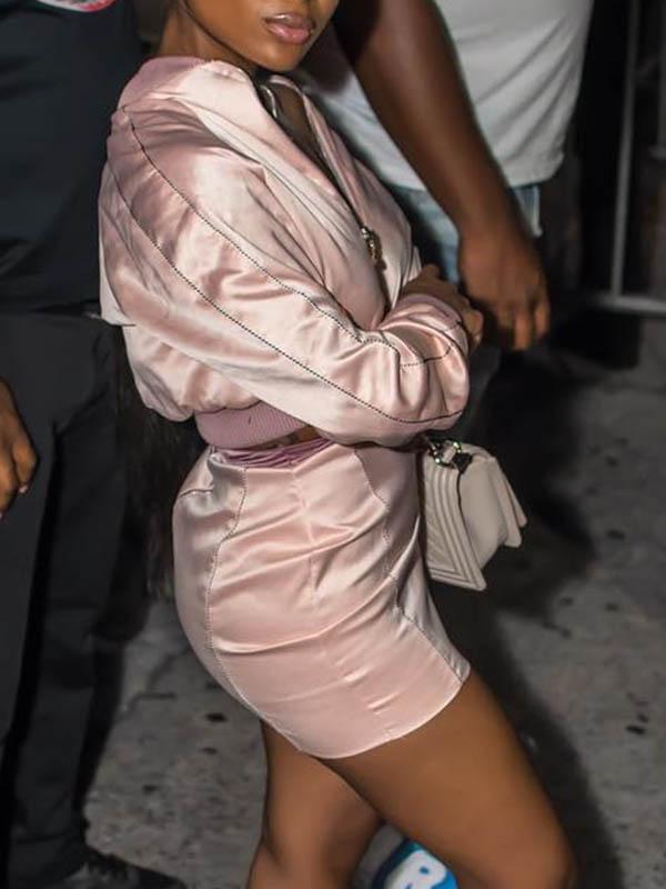 Stylish Mandarin Collar Long Sleeves Zipper Design Pink Polyester Two-piece Skirt Set