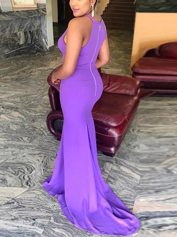 Sexy cuello redondo hueco a cabo púrpura vestido de longitud de piso de poliéster