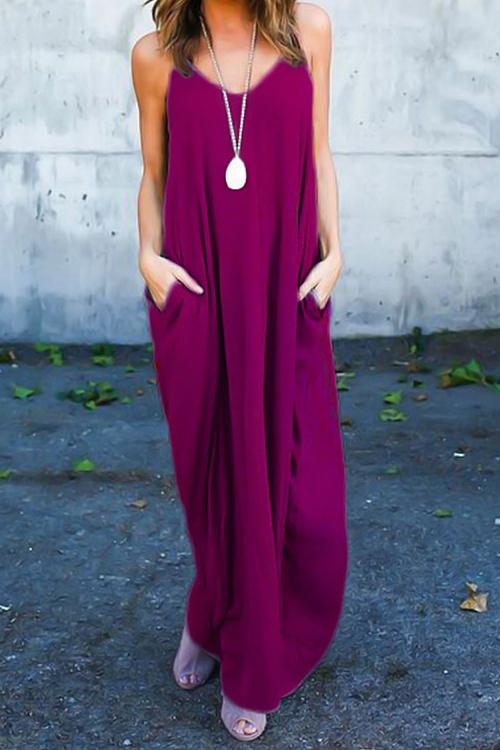 Случайные V Шеи Хлопок Смесь Фиолетовый-Красный Хлопок Смесь Голеностопного Длина Платья(Без Аксессуаров)