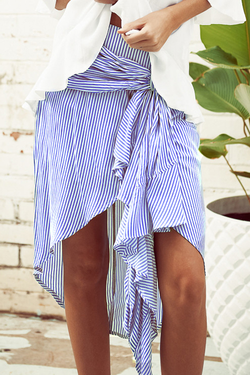 Stylish Asymmetrical Blue Polyester Knee Length Sk