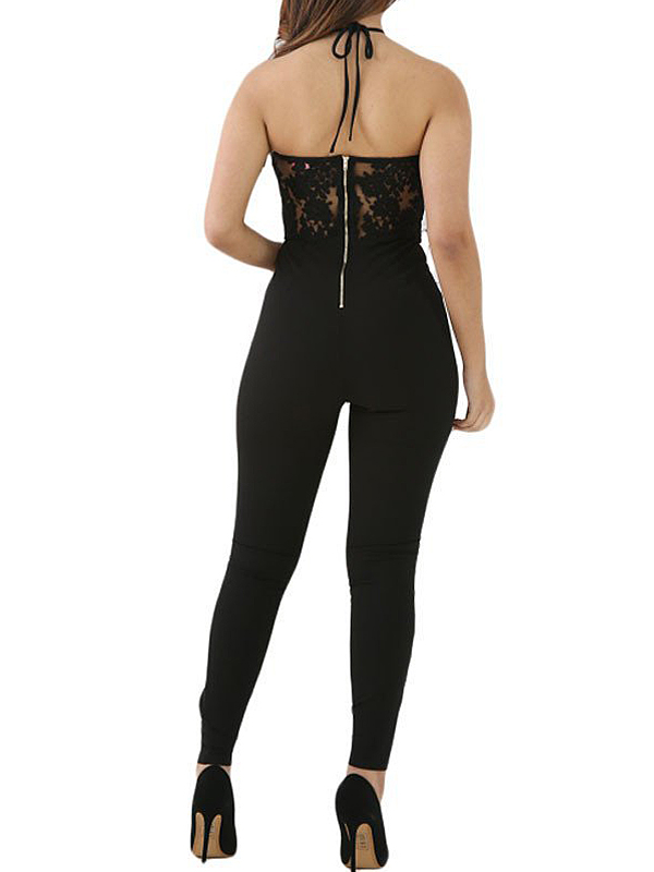 Sexy Backless Black Lace One-piece Jumpsuits