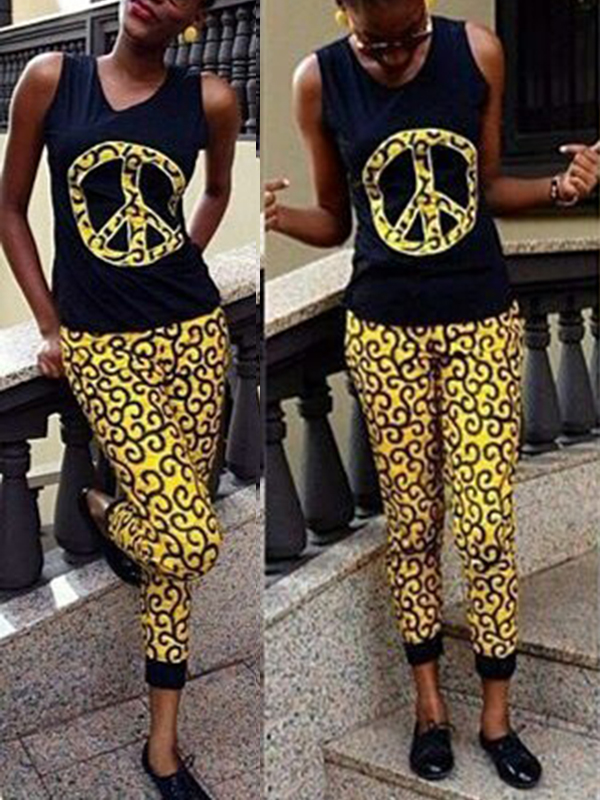 Leisure Round Neck Printed Patchwork Polyester Two-piece Pants Set