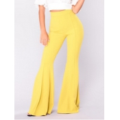 Leisure High Waist Falbala Design Yellow Polyester