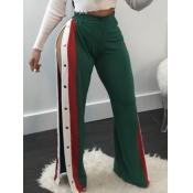 Pantalon élastique en élastique en élastique en patchwork Vert Polyester