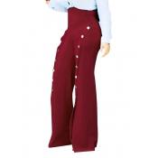 Poliéster Sólido Cremallera Fly Pantalones Regular Pantalones