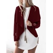 Lovely Polyester Turndown Collar Long Sleeve Regular Coat&Jacket