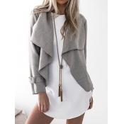 Polyester Turndown Collar Long Sleeve Regular Coat&Jacket